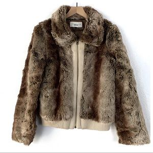 Sanctuary Surplus Faux Fur Bomber Jacket Size Lg